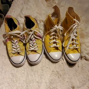 Bundle of GUC Converse yellow hi and low top